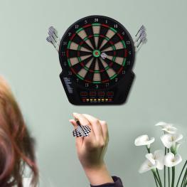 Homcom Diana Electrónica Con 6 Dardos<br> - Juego Digital Con Sonido<br> - 27 Juegos Con 243 Variantes<br> - 44X50X3,2Cm<br> - Color: Negro