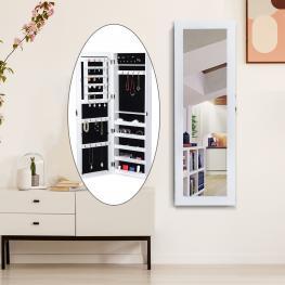 Homcom Espejo Joyero Blanco Mdf 37X9,5X112Cm  - Color: Blanco