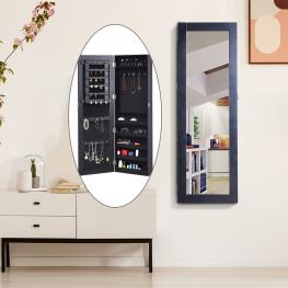 Homcom® Espejo Joyero de Pared Armario Para Joyas Con Cerradura 37X9.5X112Cm Mdf Negro - Color: Negro