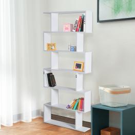 Homcom® Estantería Alta Librería 6 Estantes Comedor Salón Diseño Moderno Montaje de Pared 80X23X192Cm Madera Blanca -