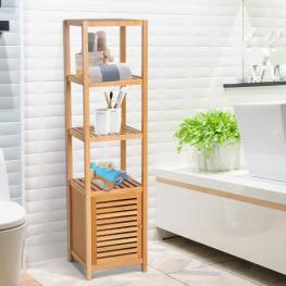Homcom® Estantería Bambú Para Baño Armario Alto Librería Organizador 4 Niveles 1 Puerta 36X33X140Cm<br> - Color: Bambú Natural