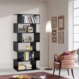 Homcom Estantería Con 6 Estantes Para Libros  - Color Negro  - Material de Madera  - Dimensiones 80X25X192Cm  - Color: Negro