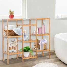 Homcom® Estantería de Bambú 9 Niveles Estantería Almacenaje Para Baño 96.5X33X90.5Cm<br> - Color: Bambú Natural