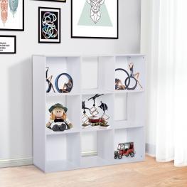 Homcom® Estantería Librería 3 Niveles Estante de Exposición 9 Cubos Blanco -