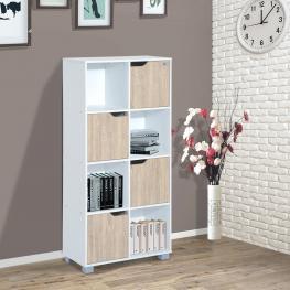 Homcom® Estantería Librería Alta Para Libros Blanca y Roble 60X30X122Cm - Color: Blanco y Roble