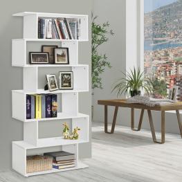 Homcom® Estantería Moderna En Forma de S Librería de 6 Estantes Madera Blanca 80X25X192Cm<br> - Color: Blanco