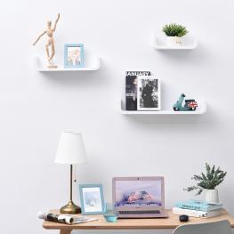 Homcom® Estantes de Pared de Madera de 3 Piezas Para Libros y Decoración<br> - Color: Blanco
