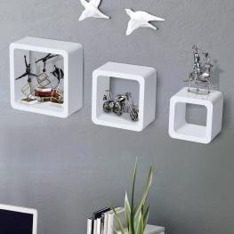 Homcom® Estantes de Pared Juego de 3 Cubos Para Libro Cds Blanco  - Color: Blanco