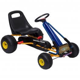 Homcom Go-Kart A Pedales Para Niños A Partir de 3 Años Con Asiento Ajustable y Freno de Mano 96X68X56 Cm Azul y Negro  - Color: Azul y Negro