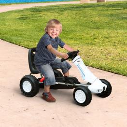 Homcom Go Kart Coche de Pedales Deportivo de Acero Con Frenos Para Niños Mayores de 3 Años  - Color Negro y Blanco  - 83.5 X 48 X 48Cm  - Color: Negro