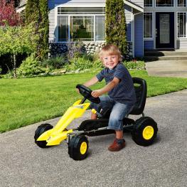 Homcom Go Kart Coche de Pedales Deportivo de Acero Con Frenos Para Niños de 3-5 Años  - Color Negro y Amarillo  - 88 X 51 X 48Cm  - Color: Negro y Ama