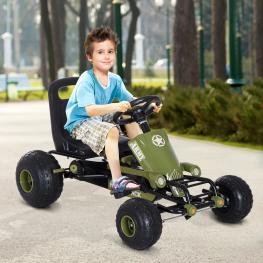 Homcom Go Kart Coche de Pedales Racing Deportivo Con Asiento Ajustable Embrague y Freno 99X65X56Cm Marco Acero Negro y Verde  - Color: Colores Variado