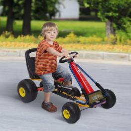Homcom Go Kart Coche Para Niños 3-8 Años Con Asiento Ajustable  - Acero Negro  - 96X68X56Cm  - Color: Negro
