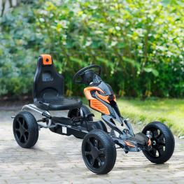 Homcom Go Kart Racing Deportivo Coche de Pedales Para Niños de 3-8 Años  - Negro y Naranja  - 122 X 60 X 70Cm  - Color: Negro y Naranja