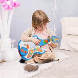 Homcom® Guitarra Infantil Juguete Electrónico Musical Convertible En Piano Tambor Proyector Con Luces Sonidos  - Color: Azul y Naranja
