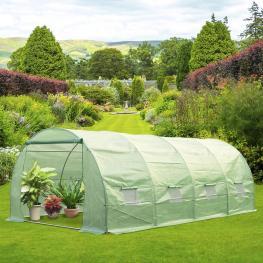 Homcom Invernadero de Jardín Para Plantas - Color Verde - Acero y Polietileno - 6X3X2M - Color: Verde