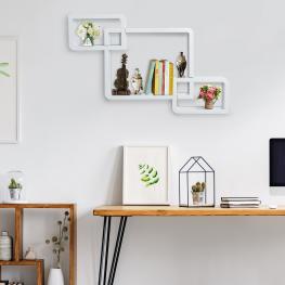 Homcom Juego de 3 Cubos Estantes de Pared Estantería Para Libro Cds Baldas Flotantes Decorativo Blanco - 38X30X12Cm - Color: Blanco
