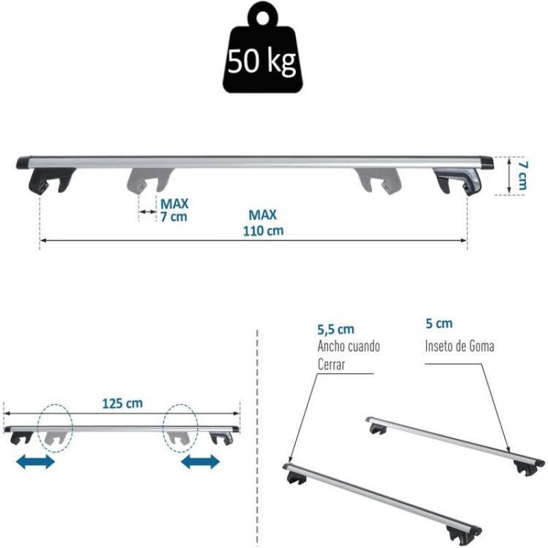 75 kg Num Bar portaequipajes Universal de Aluminio Cesta de Carga para Coche portaequipajes