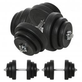 Homcom Juego de Mancuernas Pesas de Fitness 40Kg Ajustable Profesionales Gimnasio Doméstico y Musculación Con Barra Acero y Discos - Color: Negro