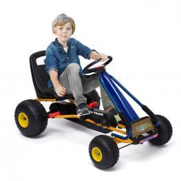 Homcom® Kart A Pedales Para Niños de 3 A 8 Años  - Acero y Plástico  - Color Azul y Negro  - 96X68X56 Cm  - Color: Azul y Negro