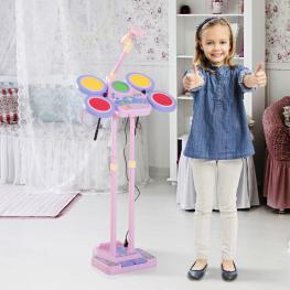 Homcom® Kit Tambor de Jazz Con Micrófono Set Batería Electrónica Infantil Juguete Musical 45X25X140Cm Rosa<br> - Color: Rosa