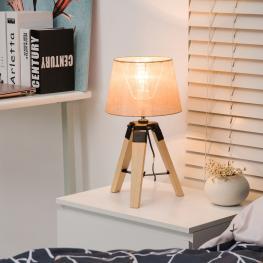 Homcom Lámpara de Mesa Moderna y Original Con Base Trípode de Madera y Pantalla de Tela Lino  - 24X24X45Cm  - Color: Madera y Crema