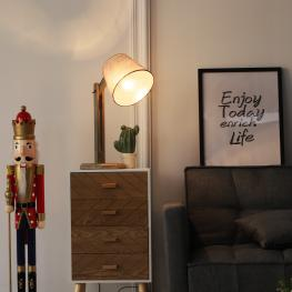 Homcom® Lámpara de Mesa Vintage Original Para Salón O Dormitorio Base Madera Maciza Pantalla de Tela Lino 20X17X57Cm E27 40W - Color: Gris