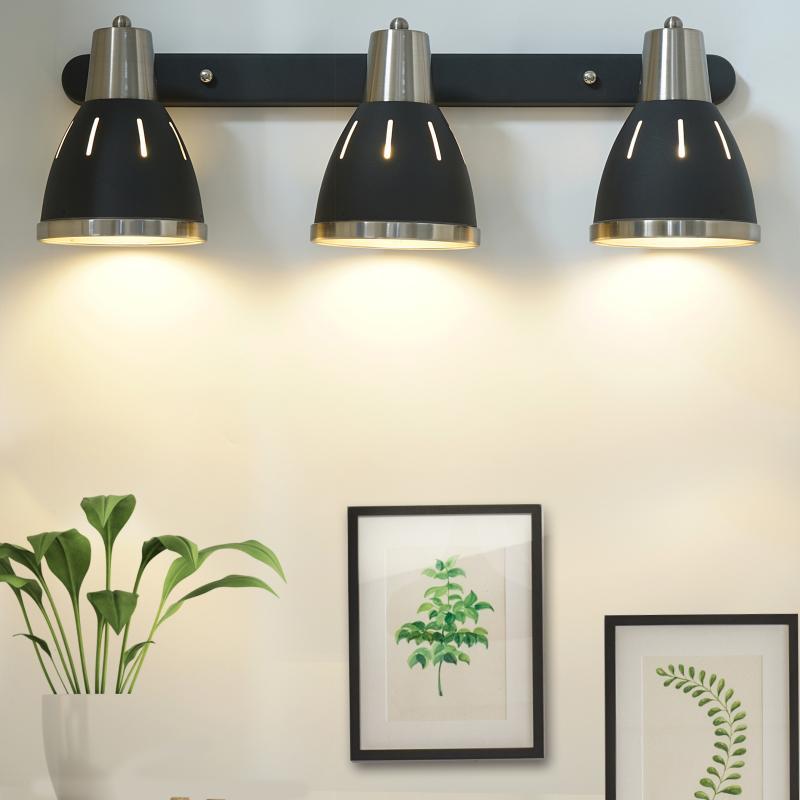 Homcom® Lámpara de Pared Giratorio Focos de Pared Orientable Vintage Apliques 3 Luces E27 40W Ф13X16X55Cm Negro - Color: Negro
