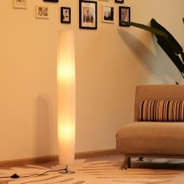 Homcom Lámpara de Pie Moderna Con 2 Luces E27 40W y Pulsador de Pie Con Base de Acero Inoxidable 120Cm - Color Blanco - Color: Blanco