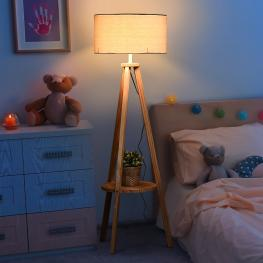 Homcom® Lámpara de Pie Moderna Para Dormitorio Estudio Salón Con Luces E27 40W y Pulsador de Pie Con Base Trípode Inoxidable 154Cm  - Color: Madera y
