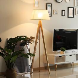 Homcom® Lámpara de Pie Moderna Para Dormitorio Estudio Salón Con Luces E27 40W y Pulsador de Pie Con Base Trípode Inoxidable Pantalla de Lino Beige 14