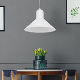 Homcom® Lámpara de Techo Industrial Vintage Lámpara Colgante Decoración Industrial Iluminación Retra E27 40W Ф34.5X28Cm Blanco - Color: Blanco