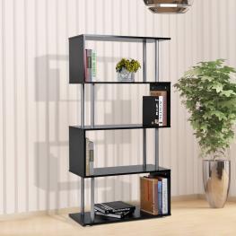 Homcom Librería Estantería Moderna Tipo Estante de Pared Muebles de Decoración de Oficina Para Libros<br> - Color Negro<br> - Mfc Pvc<br> - 80X30X145