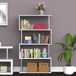 Homcom Librería Muebles Para Oficina Estantería<br> - Color Blanco<br> - Madera y Metal<br> - 145X80X30Cm<br> - Color: Blanco
