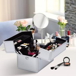 Homcom Maletin Maquillaje 36'5X24X29Cm 3 Niveles Maleta 2 Cerraduras 2 Llaves Cosmetica - Color: Blanco