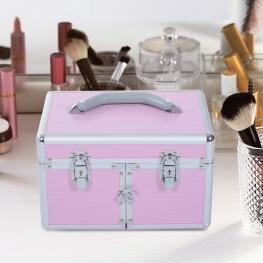 Homcom® Maletín Para Maquillaje Organizador Cosméticos Profesional 29X21X20Cm  - Color: Rosa