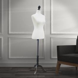 Homcom Maniquí Femenino de Costura Busto de Señora Para Modistas Exhibición Altura Ajustable A 130-168Cm Blanco  - Color: Blanco