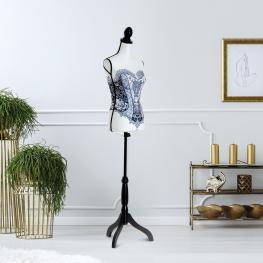 Homcom® Maniquí Femenino de Costura Busto de Señora Altura Ajustable A 130-168Cm Blanco y Negro<br> - Color: Negro y Blanco