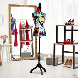 Homcom Maniquí Femenino de Costura Busto de Señora Para Modistas Exhibición Altura Ajustable A 130-168Cm Multicolor<br> - Color: Multicolor