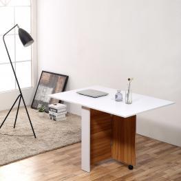 Homcom® Mesa Comedor Plegable Con Ruedas Estante Multifuncional Salón 3 Formas<br> - Color: Blanco y Madera