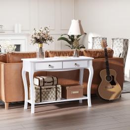 Homcom® Mesa Consola Aparador Salón Comedor Mueble Recibidor Con Cajones y Estante 100X33X76Cm<br> - Color: Blanco