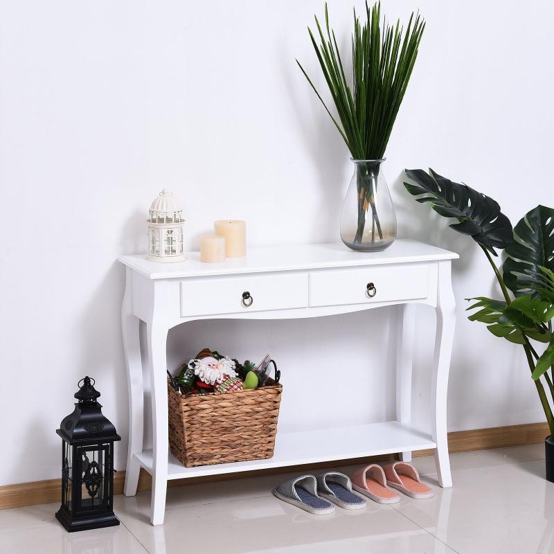 Homcom® Mesa Consola Aparador Salón Comedor Mueble Recibidor Con Cajones y Estante 100X33X76Cm Color: Blanco