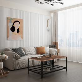Homcom® Mesa de Centro Mesa Auxiliar Multifuncional Para Sofá Salón Dormitorio Estilo Industrial Retro Estante de Rejilla Acero y Madera 106X60X45Cm<b