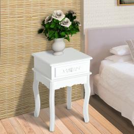 Homcom Mesa de Entrada Tipo Recibidor O Mesita de Noche Con 1 Cajón – Mdf y Madera de Paulownia – 40 X 35 X 60Cm<br> - Color: Blanco