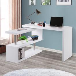 Homcom Mesa de Escritorio Con Estantería Para Oficina - Color Blanco - Mdf y Acero Inoxidable - 187,5X50X76,1Cm - Color: Blanco