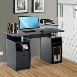 Homcom Mesa de Escritorio Para Ordenador Mobiliario de Despacho y Oficina Color Negro Madera 120X55X85Cm<br> - Color: Negro