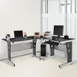 Homcom® Mesa de Oficina Escritorio Para Ordenador de Cristal Ala Esquinera<br> - Color: Negro