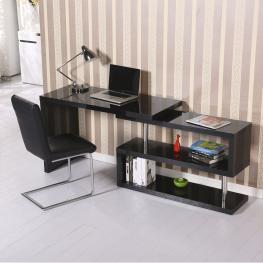 Homcom Mesa de Oficina Para Ordenador Pc - Color Negro - Mdf y Acero Inoxidable - 187.5X50X76.1 Cm - Color: Negro