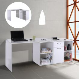 Homcom® Mesa de Ordenador 2 Formas Con 4 Estantes 1 Cajón 1 Puerta Madera Blanco - Color: Blanco