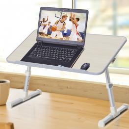 Homcom® Mesa de Ordenador Ajustable y Plegable Soporte Escritorio 54X30X22.5-32Cm - Color: Roble y Plateado